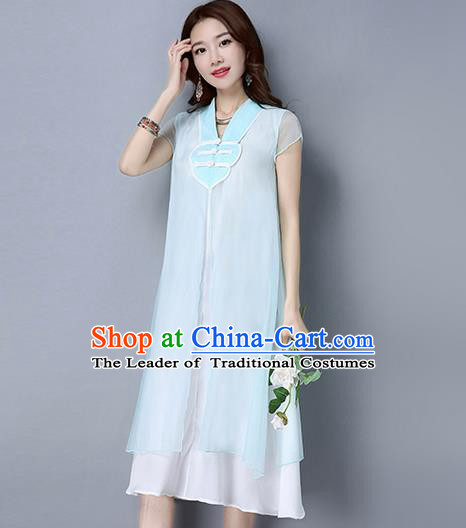 Traditional Ancient Chinese National Costume, Elegant Hanfu Chiffon Plated Buttons White Dress, China Tang Suit Chirpaur Cheongsam Elegant Dress Clothing for Women