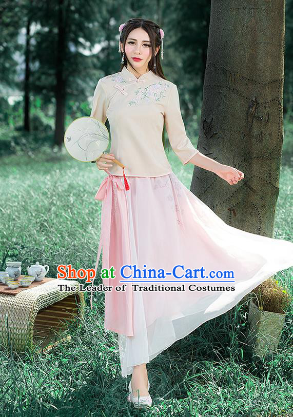 Traditional Chinese National Costume, Elegant Hanfu Embroidery Slant Opening Apricot Stand Collar T-Shirt, China Tang Suit Republic of China Plated Buttons Blouse Cheongsam Upper Outer Garment Qipao Shirts Clothing for Women