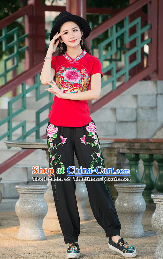 Traditional Chinese National Costume, Elegant Hanfu Embroidery Plated Button Red Shirt, China Tang Suit Republic of China Stand Collar Blouse Cheongsam Upper Outer Garment Qipao Shirts Clothing for Women