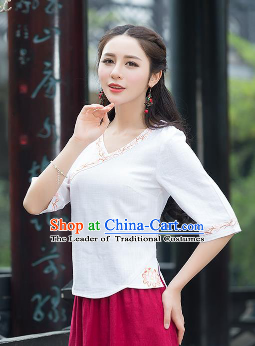 Traditional Chinese National Costume, Elegant Hanfu Embroidery White Shirt, China Tang Suit Republic of China Blouse Cheongsam Upper Outer Garment Qipao Shirts Clothing for Women