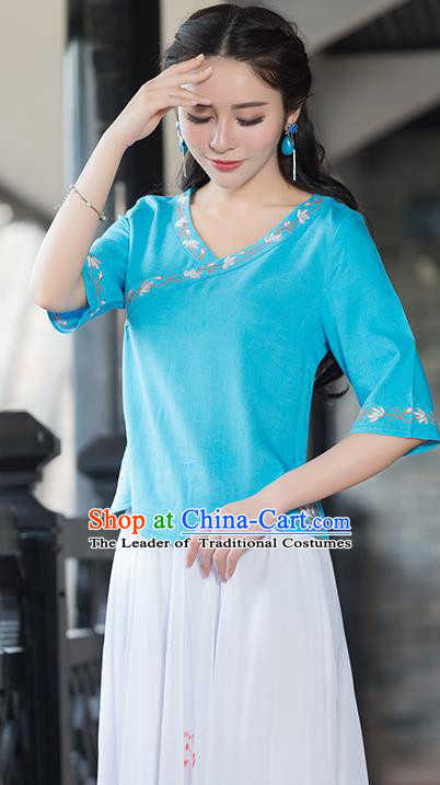 Traditional Chinese National Costume, Elegant Hanfu Embroidery Blue Shirt, China Tang Suit Republic of China Blouse Cheongsam Upper Outer Garment Qipao Shirts Clothing for Women