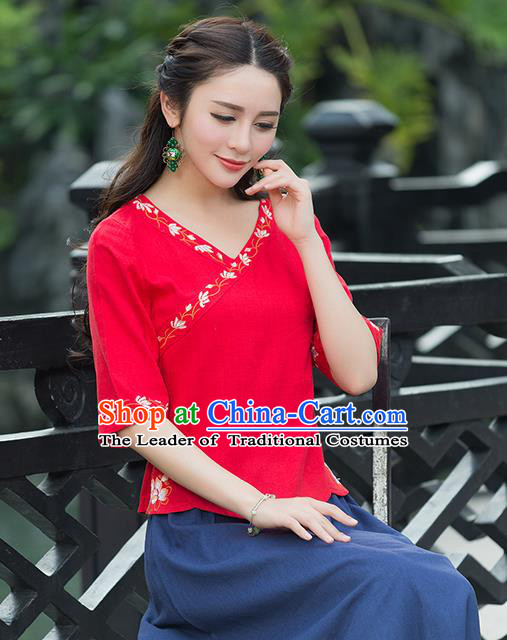 Traditional Chinese National Costume, Elegant Hanfu Embroidery Red Shirt, China Tang Suit Republic of China Blouse Cheongsam Upper Outer Garment Qipao Shirts Clothing for Women