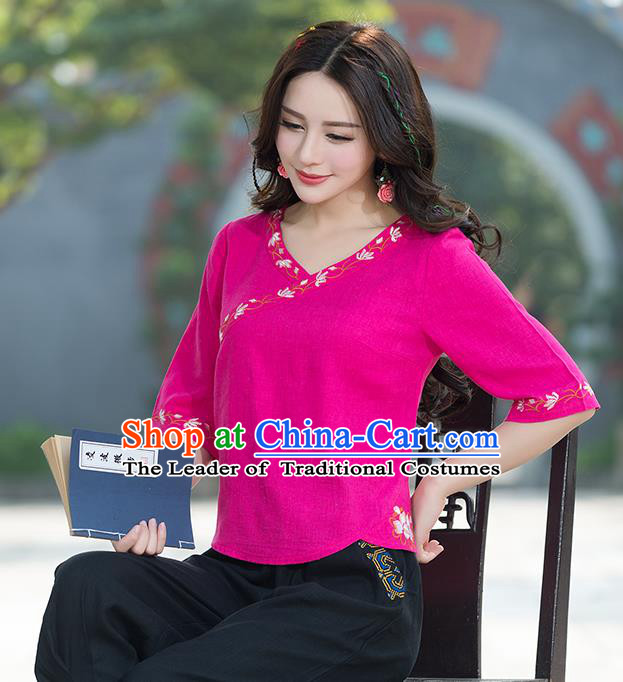 Traditional Chinese National Costume, Elegant Hanfu Embroidery Rose Shirt, China Tang Suit Republic of China Blouse Cheongsam Upper Outer Garment Qipao Shirts Clothing for Women