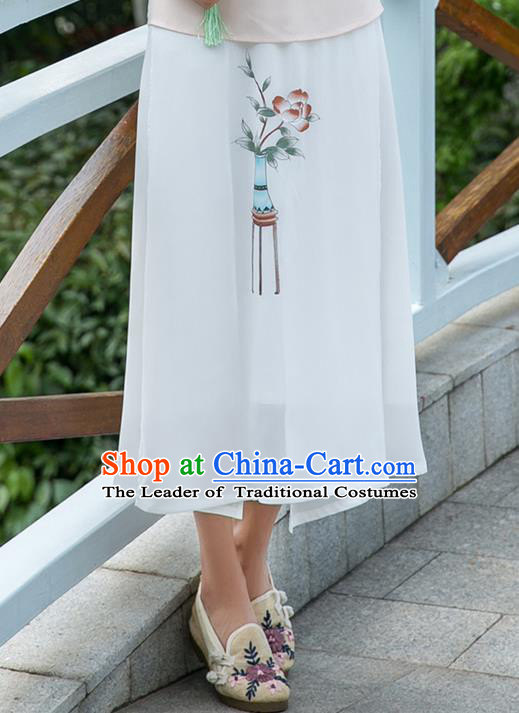 Traditional Ancient Chinese National Pleated Skirt Costume, Elegant Hanfu Hand Painting Flowers Long White Skirt, China Tang Suit Bust Skirt for Women