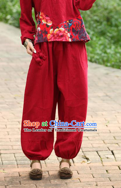 Traditional Chinese National Costume Plus Fours, Elegant Hanfu Red Bloomers, China Ethnic Minorities Folk Dance Tang Suit Pantalettes for Women