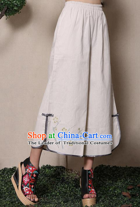Traditional Chinese National Costume Loose Pants, Elegant Hanfu Ink Wintersweet Wide-leg Trousers, China Ethnic Minorities Folk Dance Baggy Pants for Women