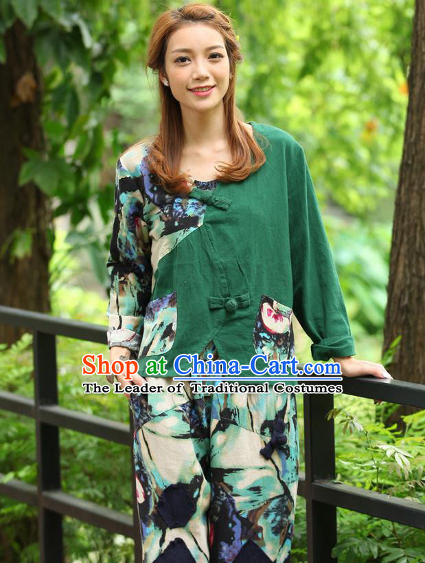 Traditional Chinese National Costume, Elegant Hanfu Joint Contrast Color Green Navy T-Shirt, China Tang Suit Republic of China Plated Buttons Blouse Cheongsam Upper Outer Garment Qipao Shirts Clothing for Women
