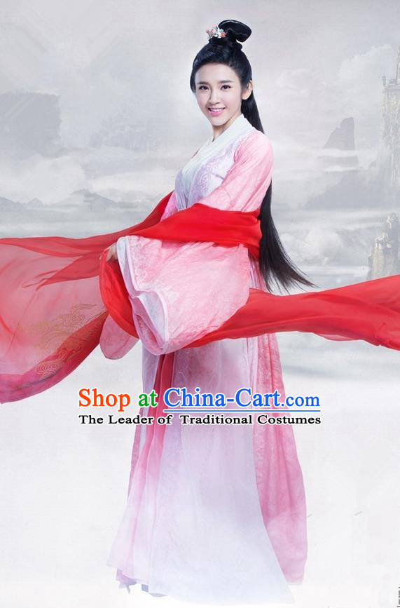 Traditional Ancient Chinese Elegant Swordsman Costume, Chinese Ancient Young Lady Dress, Cosplay Chinese Television Drama Jade Dynasty Qing Yun Faction Princess Peri Hanfu Trailing Embroidery Clothing for Women