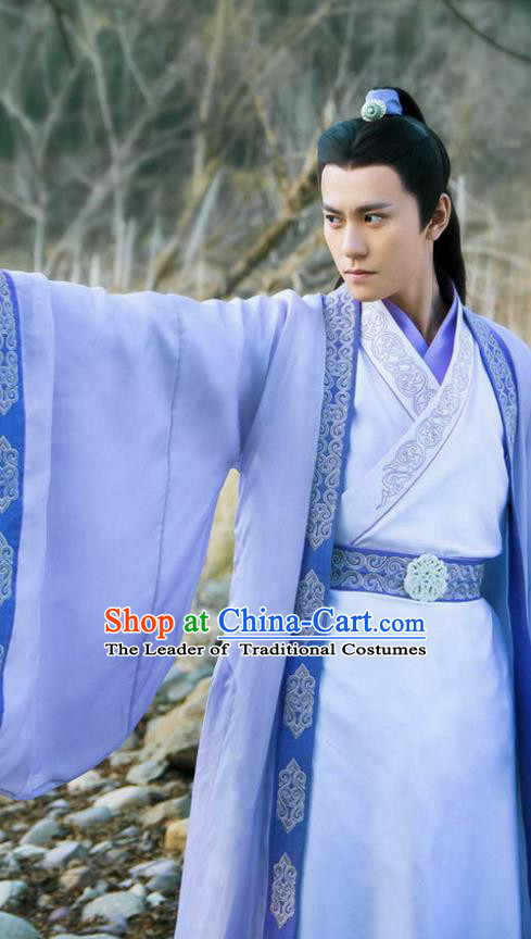 Traditional Ancient Chinese Elegant Swordsman Costume, Chinese Jiang hu Taoist Priest Disciple Dress, Cosplay Chinese Television Drama Jade Dynasty Qing Yun Faction Childe Hanfu Clothing for Men