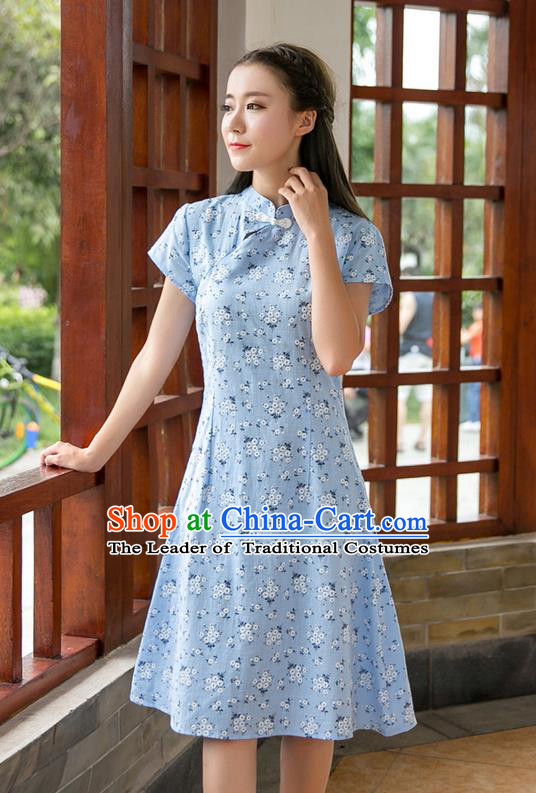 Traditional Ancient Chinese National Costume, Elegant Hanfu Mandarin Qipao Stand Collar Blue Dress, China Tang Suit Chirpaur Republic of China Plated Buttons Cheong-sam Elegant Dress Clothing for Women