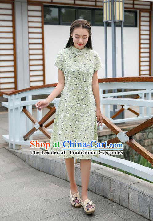 Traditional Ancient Chinese National Costume, Elegant Hanfu Mandarin Qipao Stand Collar Green Dress, China Tang Suit Chirpaur Republic of China Plated Buttons Cheong-sam Elegant Dress Clothing for Women