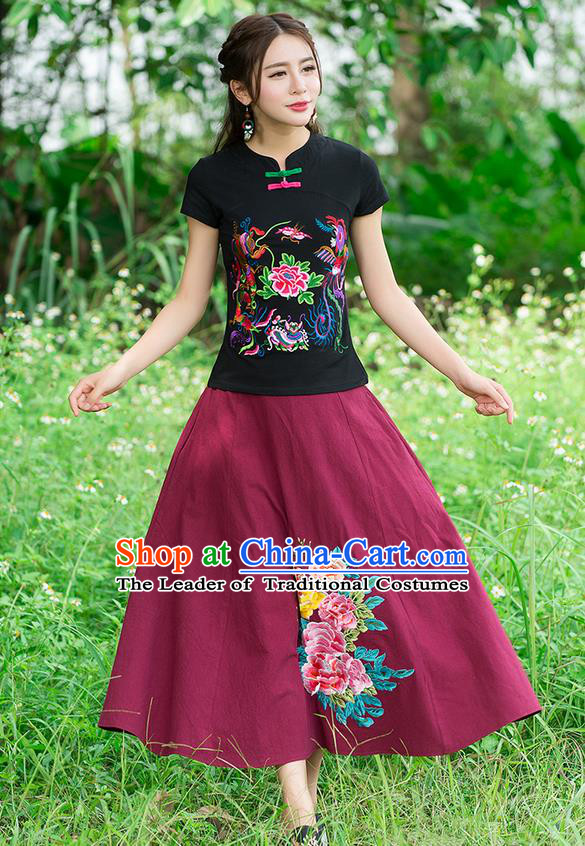 Traditional Chinese National Costume, Elegant Hanfu Embroidery Phoenix Black T-Shirt, China Tang Suit Republic of China Plated Chirpaur Buttons Blouse Cheong-sam Upper Outer Garment Qipao Shirts Clothing for Women