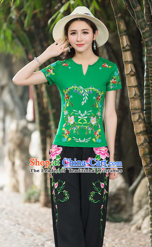 Traditional Chinese National Costume, Elegant Hanfu Embroidery Flowers Green T-Shirt, China Tang Suit Republic of China Chirpaur Buttons Blouse Cheong-sam Upper Outer Garment Qipao Shirts Clothing for Women