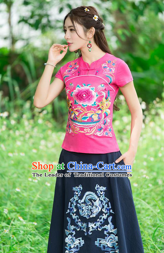 Traditional Chinese National Costume, Elegant Hanfu Embroidery Peony Flowers Pink T-Shirt, China Tang Suit Republic of China Chirpaur Plated Buttons Blouse Cheong-sam Upper Outer Garment Qipao Shirts Clothing for Women