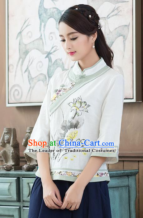 Traditional Chinese National Costume, Elegant Hanfu Ink Painting Lotus Flowers Slant Opening Shirt, China Tang Suit Republic of China Plated Chirpaur Buttons Blouse Cheong-sam Upper Outer Garment Qipao Shirts Clothing for Women