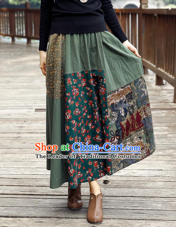 Traditional Ancient Chinese National Pleated Skirt Costume, Elegant Hanfu Floral Flowers Long Green Skirt, China Tang Suit Bust Skirt for Women