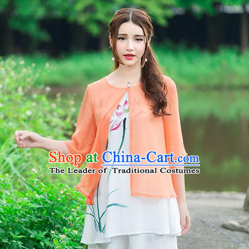 Traditional Chinese National Costume, Elegant Hanfu Hand Painting Lotus Flowers Orange Blouse, China Tang Suit Chirpaur Blouse Cheong-sam Upper Outer Garment Qipao Shirts Clothing for Women