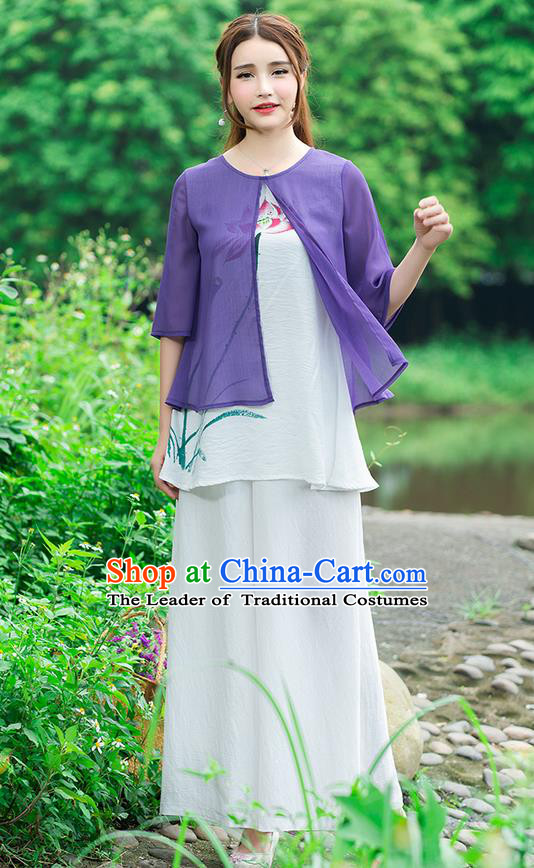 Traditional Chinese National Costume, Elegant Hanfu Hand Painting Lotus Flowers Purple Blouse, China Tang Suit Chirpaur Blouse Cheong-sam Upper Outer Garment Qipao Shirts Clothing for Women