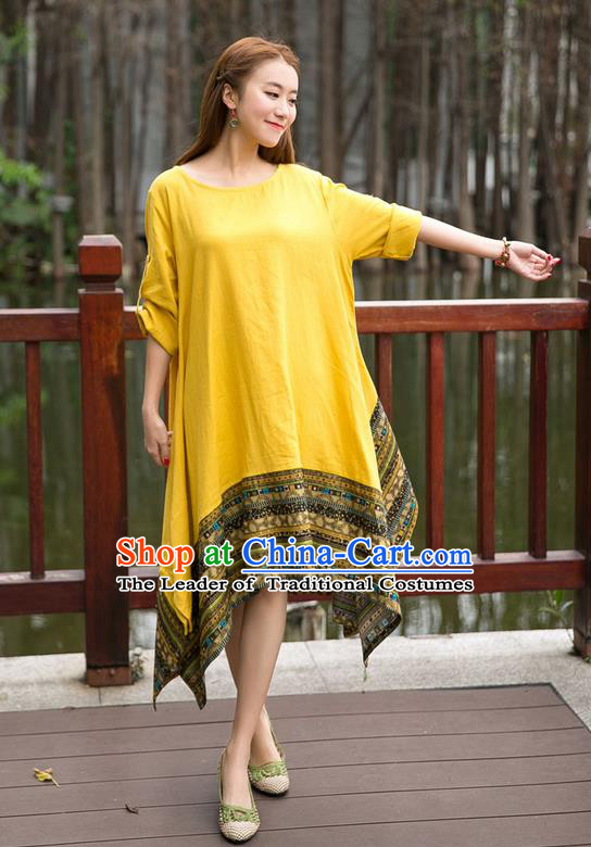 Traditional Ancient Chinese National Costume, Elegant Hanfu Big Swing Yellow Dress, China Tang Suit National Minority Chirpaur Elegant Dress Clothing for Women