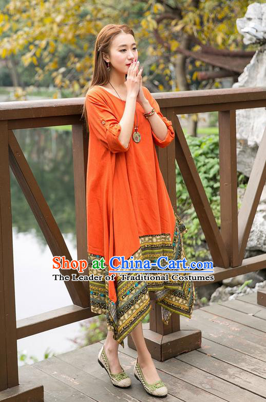 Traditional Ancient Chinese National Costume, Elegant Hanfu Big Swing Orange Dress, China Tang Suit National Minority Chirpaur Elegant Dress Clothing for Women