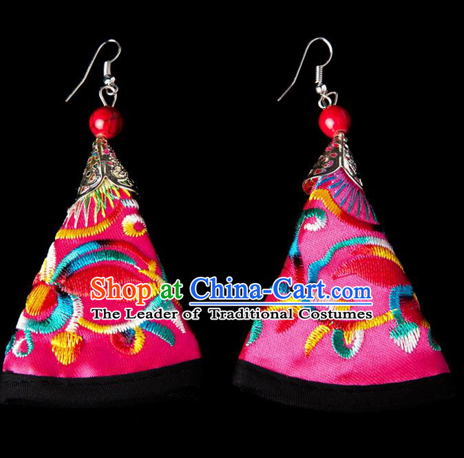 Traditional Chinese Miao Nationality Crafts, Yunnan Hmong Handmade Embroidery Flower Pink Earrings Pendant, China Ethnic Minority Eardrop Accessories Earbob Pendant for Women