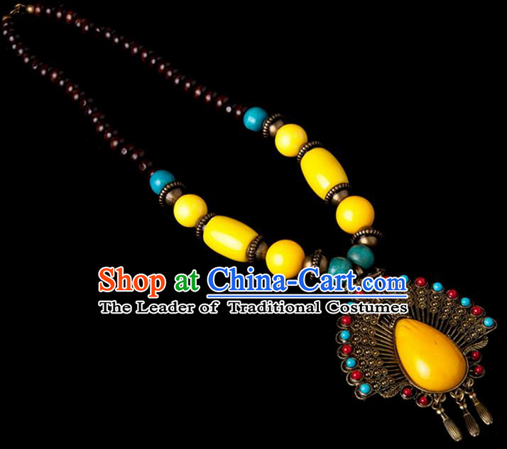Traditional Chinese Zang Nationality Crafts, Hmong Handmade Tibet Yellow Sweater Chain, Tibetan Ethnic Minority Necklace Accessories Pendant for Women