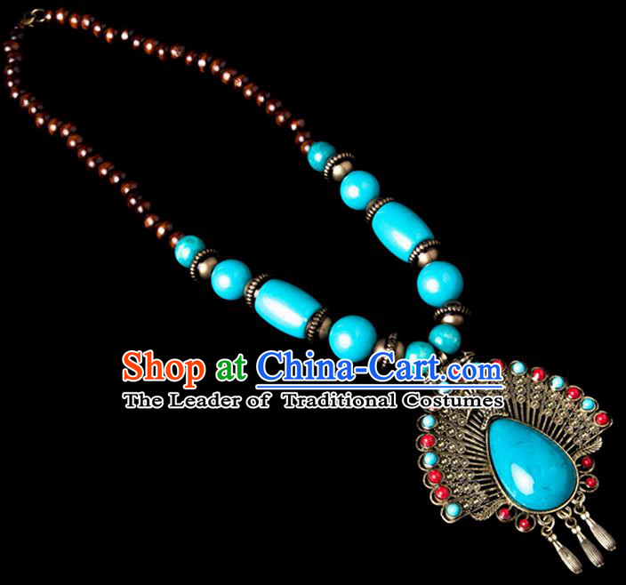 Traditional Chinese Zang Nationality Crafts, Hmong Handmade Tibet Blue Sweater Chain, Tibetan Ethnic Minority Necklace Accessories Pendant for Women