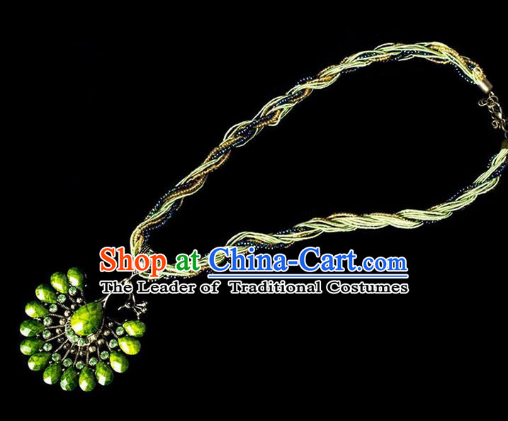 Traditional Chinese Dai Nationality Crafts, Yunan Handmade Green Peacock Sweater Chain, China Dai Ethnic Minority Necklace Accessories Pendant for Women