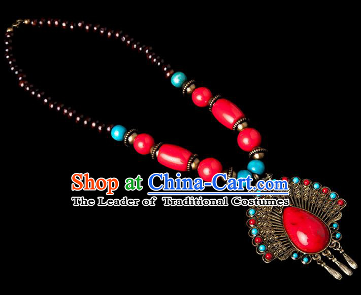 Traditional Chinese Zang Nationality Crafts, Hmong Handmade Tibet Red Sweater Chain, Tibetan Ethnic Minority Necklace Accessories Pendant for Women