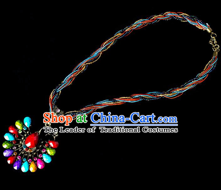 Traditional Chinese Dai Nationality Crafts, Yunan Handmade Colorized Peacock Sweater Chain, China Dai Ethnic Minority Necklace Accessories Pendant for Women