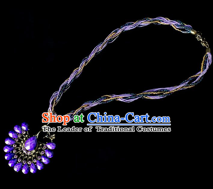 Traditional Chinese Dai Nationality Crafts, Yunan Handmade Purple Peacock Sweater Chain, China Dai Ethnic Minority Necklace Accessories Pendant for Women