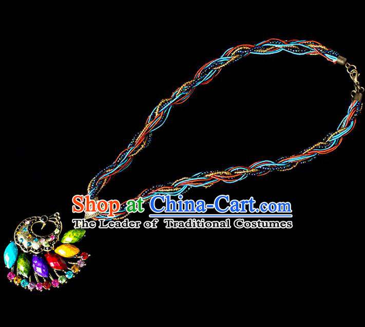 Traditional Chinese Dai Nationality Crafts, Yunan Handmade Chromatic Peacock Sweater Chain, China Dai Ethnic Minority Necklace Accessories Pendant for Women