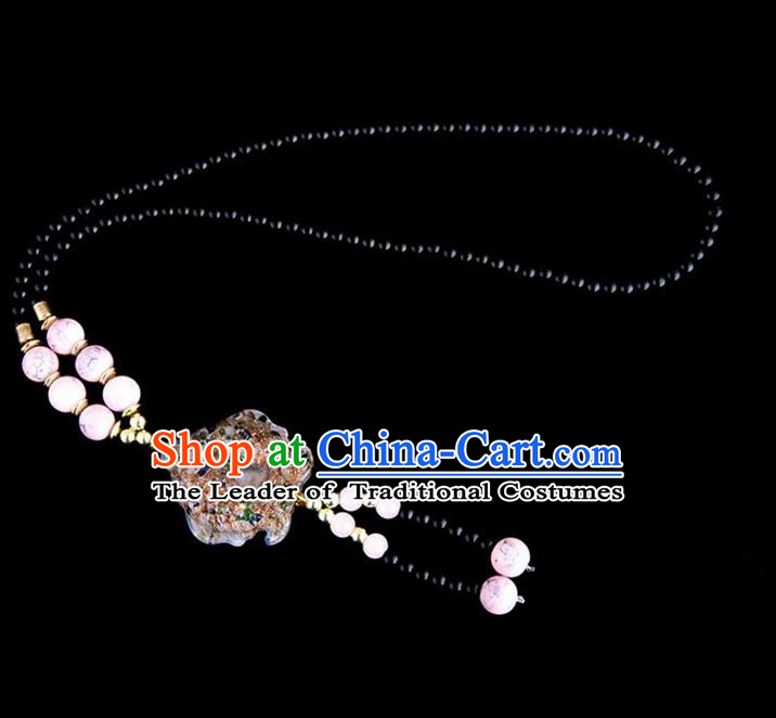 Traditional Chinese Nationality Crafts, Yunan Handmade Coloured Glaze Fish Pink Tassel Sweater Chain, China Ethnic Minority Necklace Accessories Pendant for Women