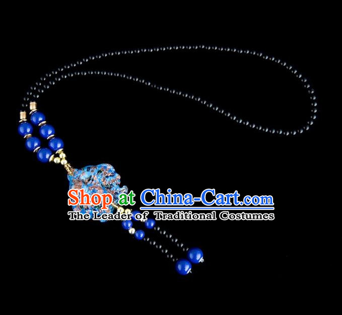 Traditional Chinese Nationality Crafts, Yunan Handmade Coloured Glaze Fish Deep Blue Tassel Sweater Chain, China Ethnic Minority Necklace Accessories Pendant for Women