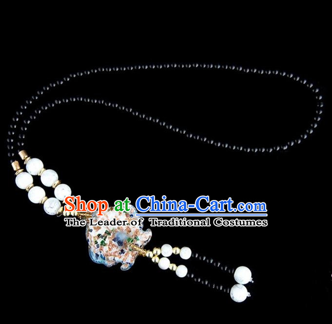 Traditional Chinese Nationality Crafts, Yunan Handmade Coloured Glaze Fish White Tassel Sweater Chain, China Ethnic Minority Necklace Accessories Pendant for Women