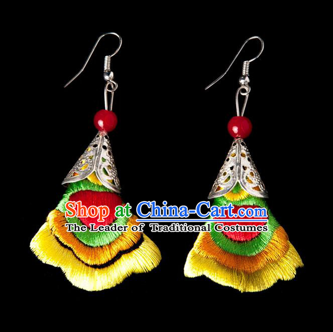 Traditional Chinese Miao Nationality Crafts, Yunnan National Handmade Embroidery Flower Linen Yellow Earrings Pendant, China Ethnic Minority Eardrop Accessories Earbob Pendant for Women