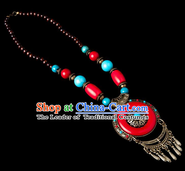 Traditional Chinese Zang Nationality Crafts, Hmong Handmade Tibet Red Tassel Sweater Chain, Tibetan Ethnic Minority Necklace Accessories Pendant for Women