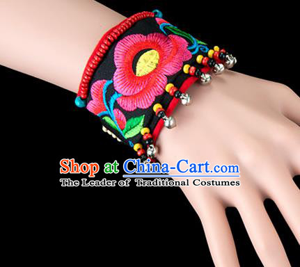 Traditional Chinese Miao Nationality Crafts, Yunan Hmong Handmade Bracelet Cuff Hand Decorative, China Miao Ethnic Minority Bangle Accessories for Women