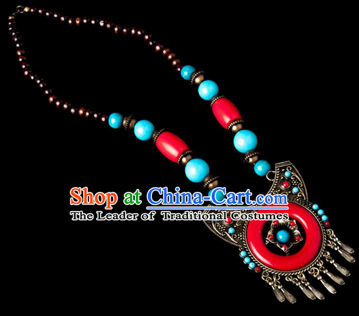 Traditional Chinese Zang Nationality Crafts, Handmade Tibet Beads Red Tassel Sweater Chain, Tibetan Ethnic Minority Necklace Accessories Pendant for Women