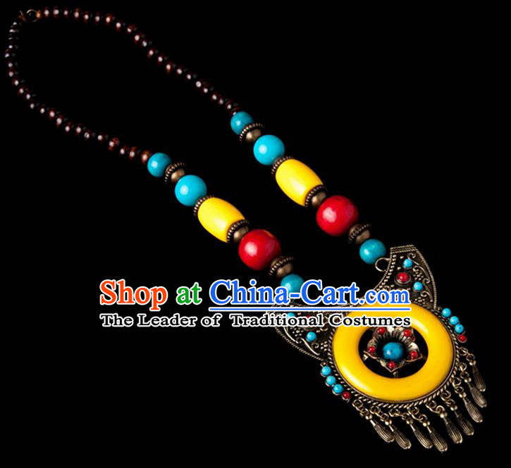 Traditional Chinese Zang Nationality Crafts, Handmade Tibet Beads Yellow Tassel Sweater Chain, Tibetan Ethnic Minority Necklace Accessories Pendant for Women