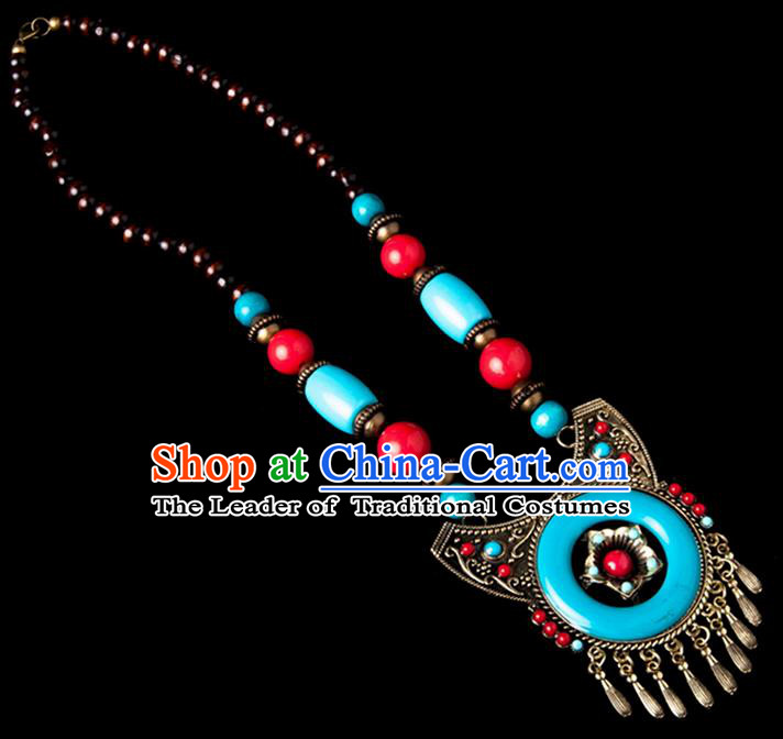 Traditional Chinese Zang Nationality Crafts, Handmade Tibet Beads Blue Tassel Sweater Chain, Tibetan Ethnic Minority Necklace Accessories Pendant for Women