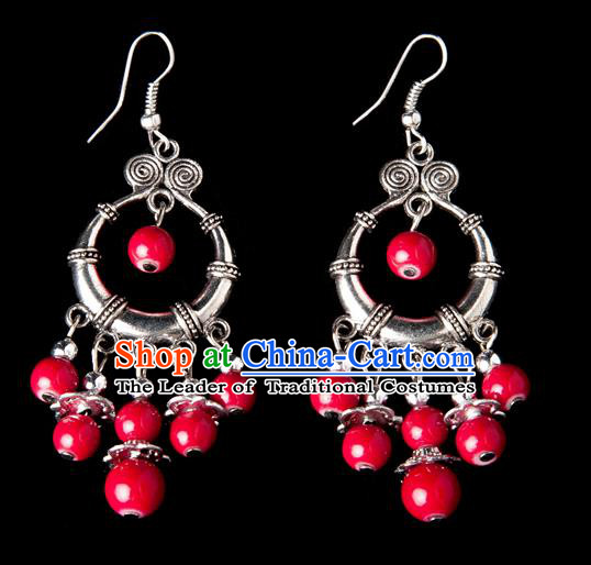 Traditional Chinese Miao Nationality Crafts, Yunnan Hmong Handmade Red Beads Tassel Earrings Pendant, China Ethnic Minority Eardrop Accessories Earbob Pendant for Women