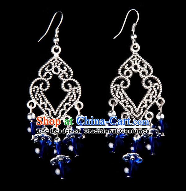 Traditional Chinese Miao Nationality Crafts, Yunnan Hmong Handmade Royalblue Beads Long Tassel Earrings Pendant, China Ethnic Minority Eardrop Accessories Earbob Pendant for Women