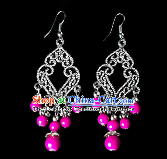 Traditional Chinese Miao Nationality Crafts, Yunnan Hmong Handmade Rose Beads Long Tassel Earrings Pendant, China Ethnic Minority Eardrop Accessories Earbob Pendant for Women