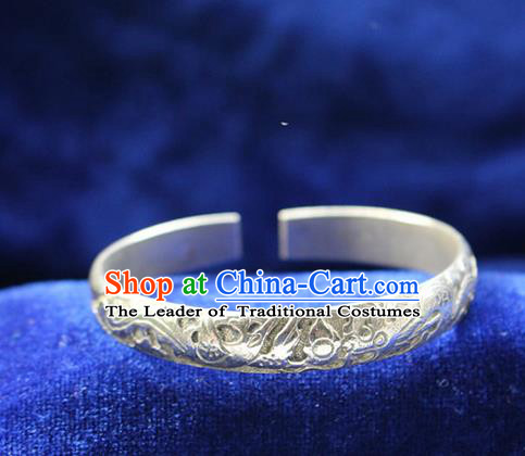 Traditional Chinese Miao Nationality Crafts Jewelry Accessory Bangle, Hmong Handmade Miao Silver Classical Dragons and Phoenixes Bracelet, Miao Ethnic Minority Silver Bracelet Accessories for Women