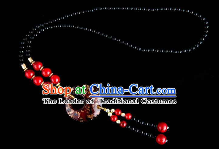 Traditional Chinese Miao Nationality Crafts, China Handmade Beads Red Coloured Glaze Sweater Chain, China Miao Ethnic Minority Necklace Accessories Pendant for Women