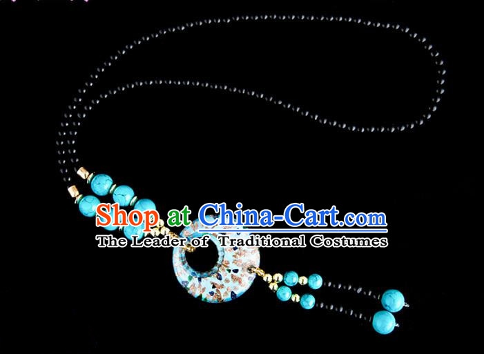 Traditional Chinese Miao Nationality Crafts, China Handmade Beads Light Blue Coloured Glaze Sweater Chain, China Miao Ethnic Minority Necklace Accessories Pendant for Women