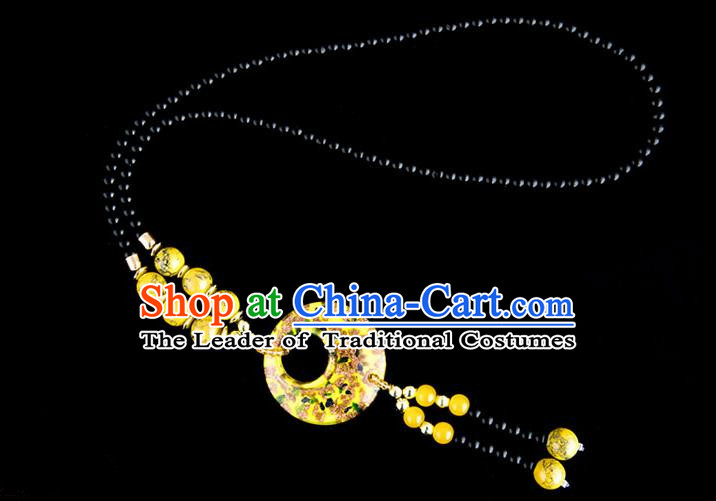 Traditional Chinese Miao Nationality Crafts, China Handmade Beads Yellow Coloured Glaze Sweater Chain, China Miao Ethnic Minority Necklace Accessories Pendant for Women