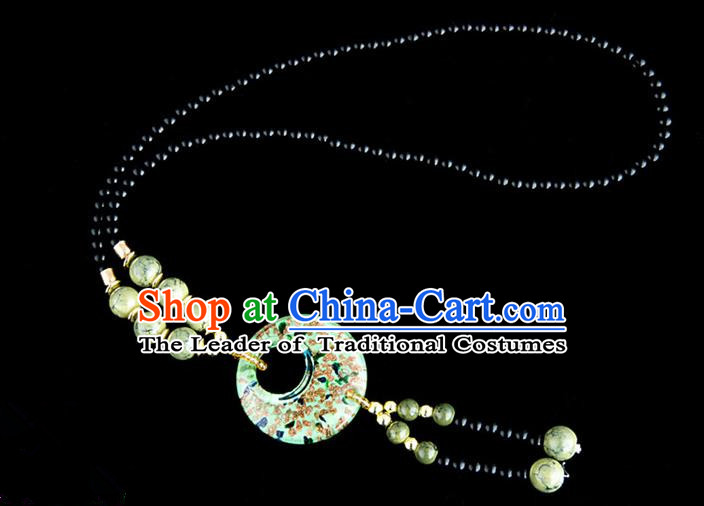Traditional Chinese Miao Nationality Crafts, China Handmade Beads Green Coloured Glaze Sweater Chain, China Miao Ethnic Minority Necklace Accessories Pendant for Women