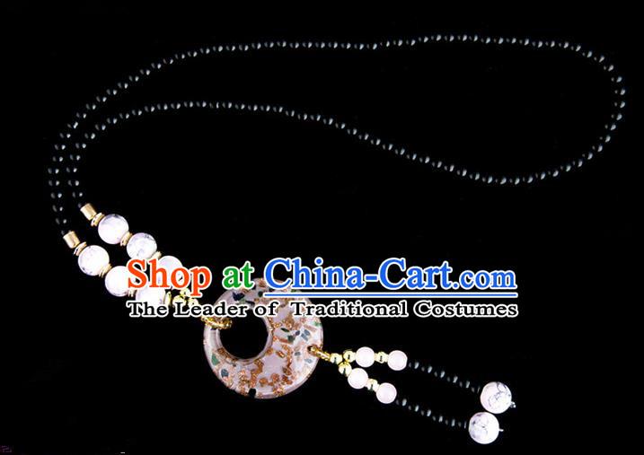 Traditional Chinese Miao Nationality Crafts, China Handmade Beads White Coloured Glaze Sweater Chain, China Miao Ethnic Minority Necklace Accessories Pendant for Women